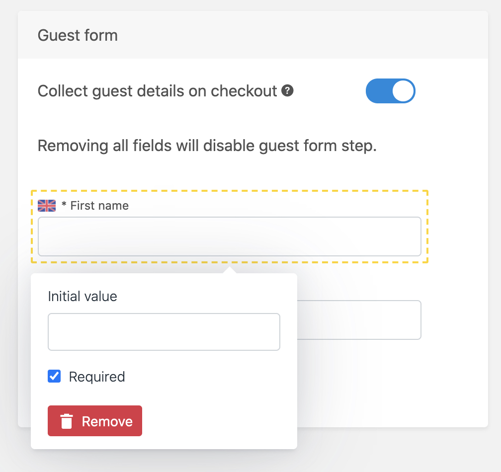 Guest field required