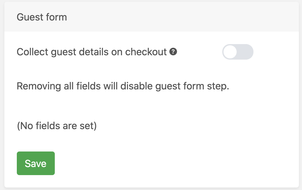 Guest form disabled